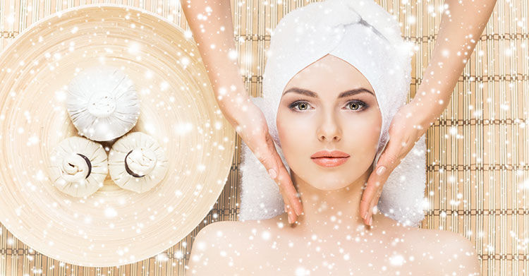 a woman in a spa with snowflakes
